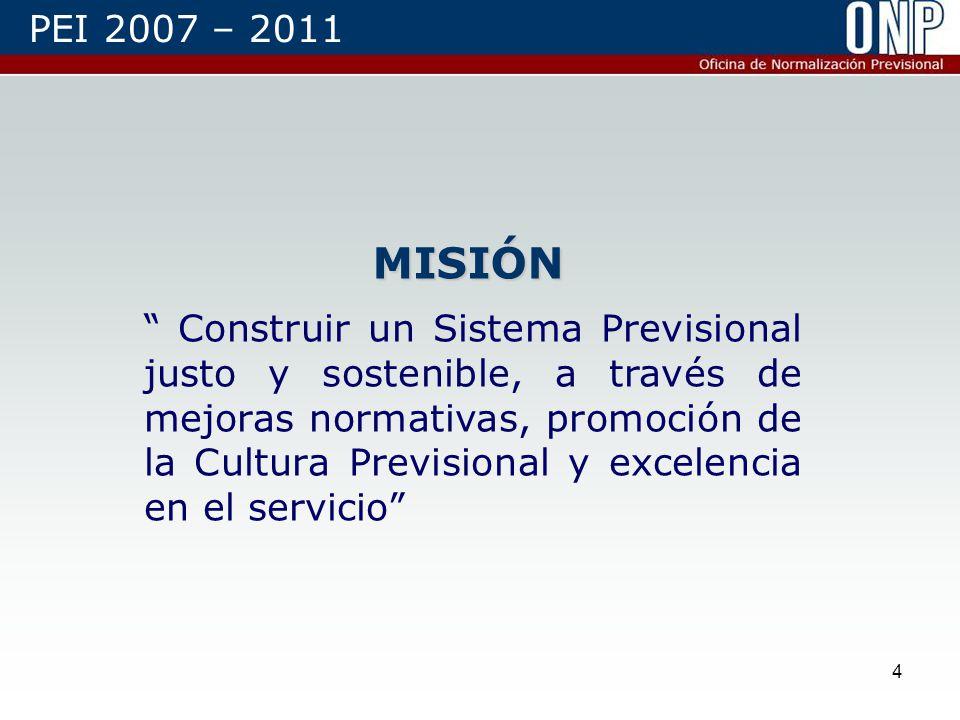 4 MISIÓN Construir un Sistema Previsional justo y sostenible, a través de mejoras normativas, promoción de la Cultura Previsional y excelencia en el servicio PEI 2007 – 2011