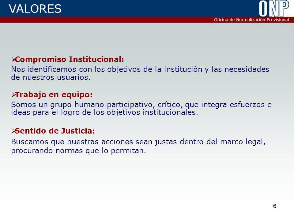 6  Compromiso Institucional: Nos identificamos con los objetivos de la institución y las necesidades de nuestros usuarios.