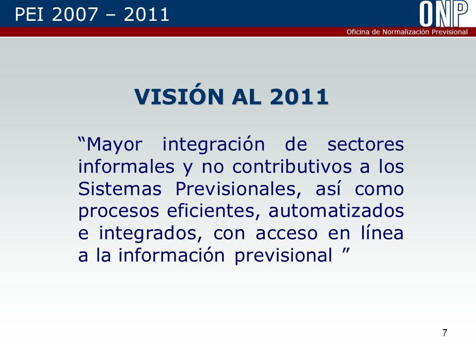7 VISIÓN AL 2011 Mayor integración de sectores informales y no contributivos a los Sistemas Previsionales, así como procesos eficientes, automatizados e integrados, con acceso en línea a la información previsional PEI 2007 – 2011