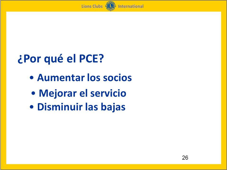 26 ¿Por qué el PCE Aumentar los socios Mejorar el servicio Disminuir las bajas