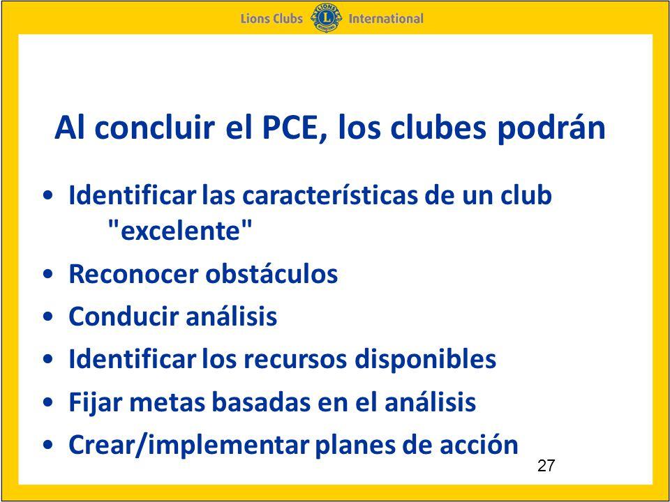 27 Al concluir el PCE, los clubes podrán Identificar las características de un club excelente Reconocer obstáculos Conducir análisis Identificar los recursos disponibles Fijar metas basadas en el análisis Crear/implementar planes de acción