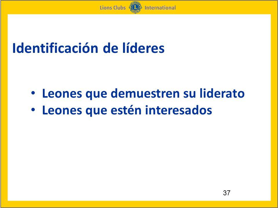 37 Identificación de líderes Leones que demuestren su liderato Leones que estén interesados
