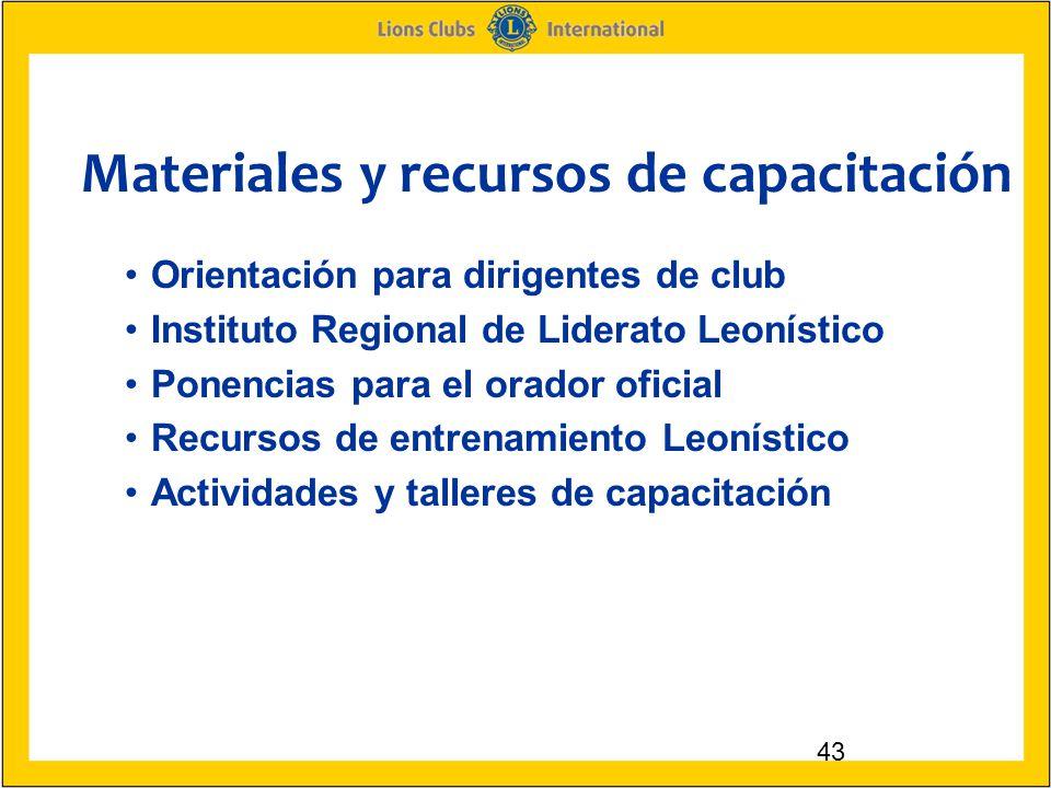 Materiales y recursos de capacitación 43 Orientación para dirigentes de club Instituto Regional de Liderato Leonístico Ponencias para el orador oficial Recursos de entrenamiento Leonístico Actividades y talleres de capacitación