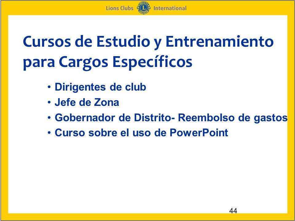 Cursos de Estudio y Entrenamiento para Cargos Específicos 44 Dirigentes de club Jefe de Zona Gobernador de Distrito- Reembolso de gastos Curso sobre el uso de PowerPoint