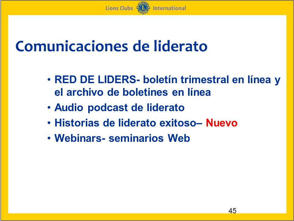 Comunicaciones de liderato 45 RED DE LIDERS- boletín trimestral en línea y el archivo de boletines en línea Audio podcast de liderato Historias de liderato exitoso– Nuevo Webinars- seminarios Web