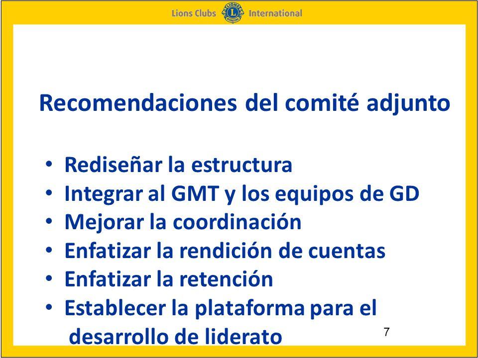 7 Recomendaciones del comité adjunto Rediseñar la estructura Integrar al GMT y los equipos de GD Mejorar la coordinación Enfatizar la rendición de cuentas Enfatizar la retención Establecer la plataforma para el desarrollo de liderato