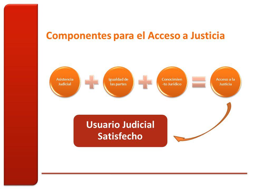 Asistencia Judicial Igualdad de las partes Conocimien -to Jurídico Acceso a la Justicia Componentes para el Acceso a Justicia Usuario Judicial Satisfecho