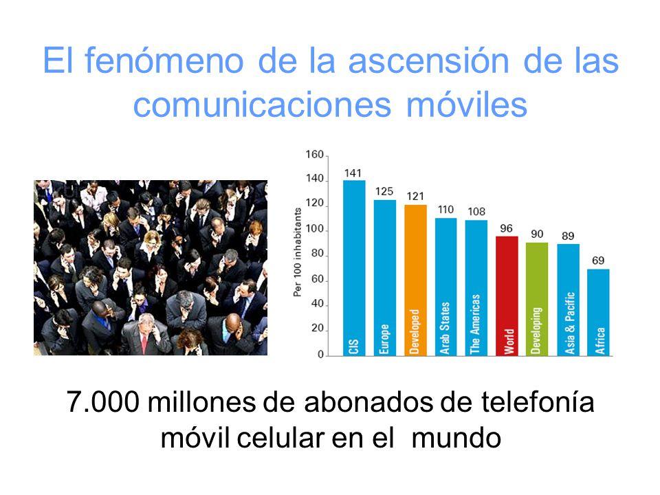 El fenómeno de la ascensión de las comunicaciones móviles 7.000 millones de abonados de telefonía móvil celular en el mundo