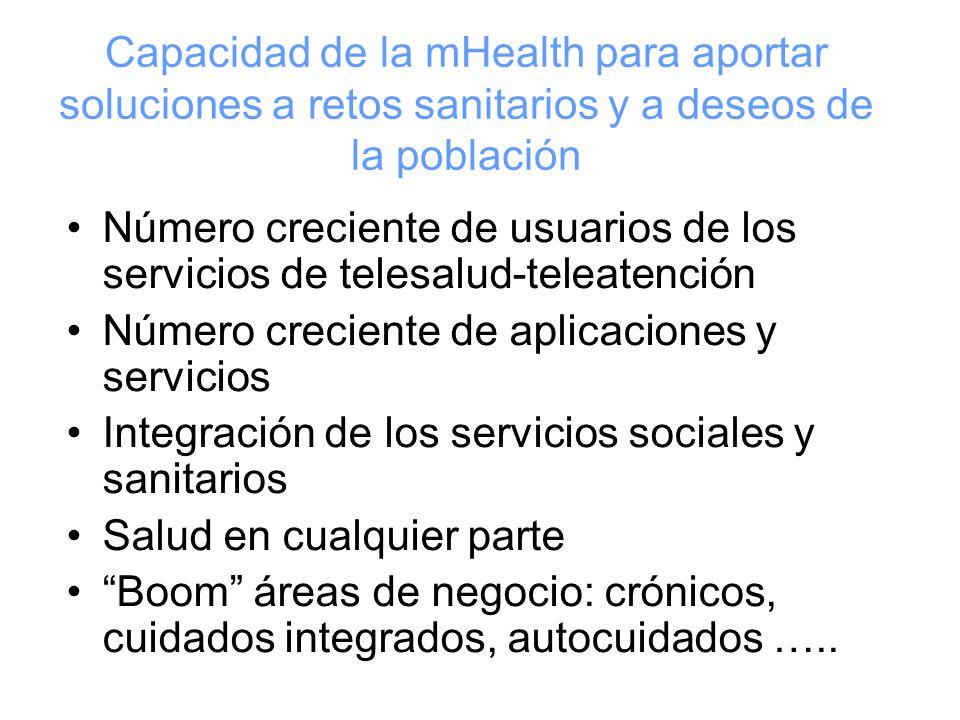 Número creciente de usuarios de los servicios de telesalud-teleatención Número creciente de aplicaciones y servicios Integración de los servicios sociales y sanitarios Salud en cualquier parte Boom áreas de negocio: crónicos, cuidados integrados, autocuidados …..