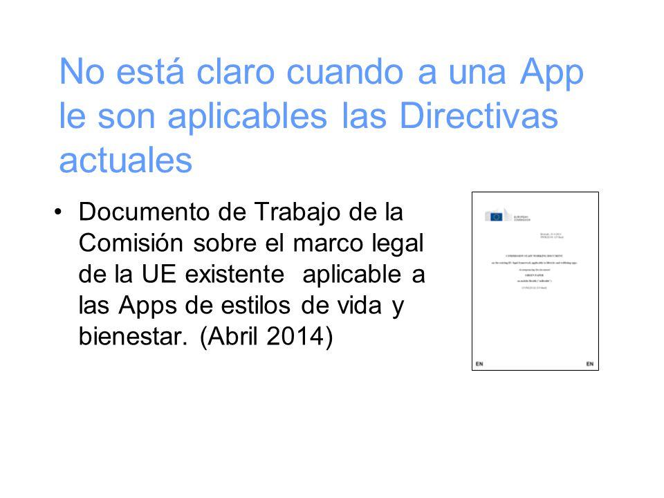 No está claro cuando a una App le son aplicables las Directivas actuales Documento de Trabajo de la Comisión sobre el marco legal de la UE existente aplicable a las Apps de estilos de vida y bienestar.