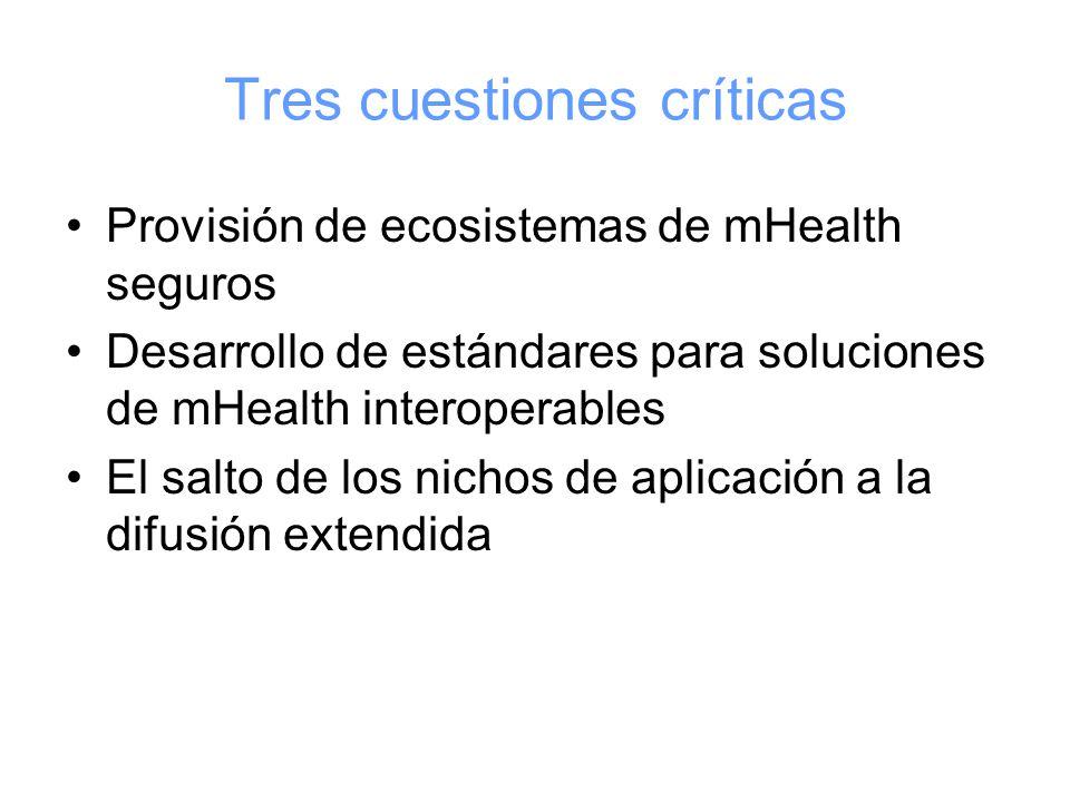 Tres cuestiones críticas Provisión de ecosistemas de mHealth seguros Desarrollo de estándares para soluciones de mHealth interoperables El salto de los nichos de aplicación a la difusión extendida