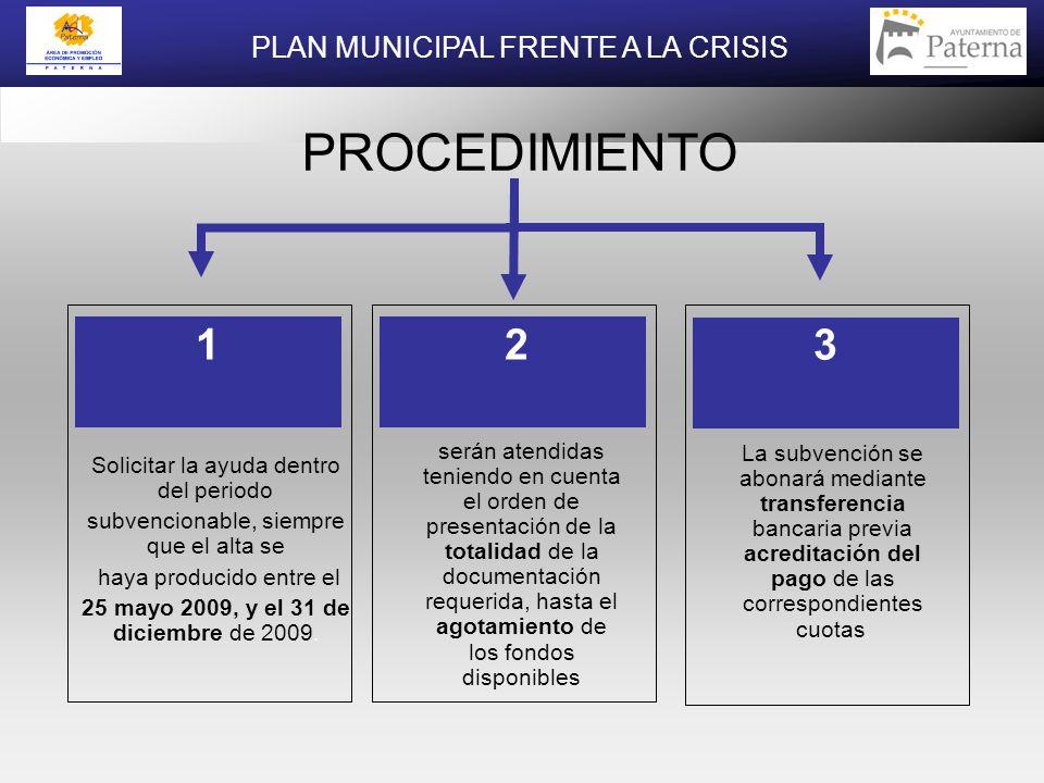 Solicitar la ayuda dentro del periodo subvencionable, siempre que el alta se haya producido entre el 25 mayo 2009, y el 31 de diciembre de 2009.