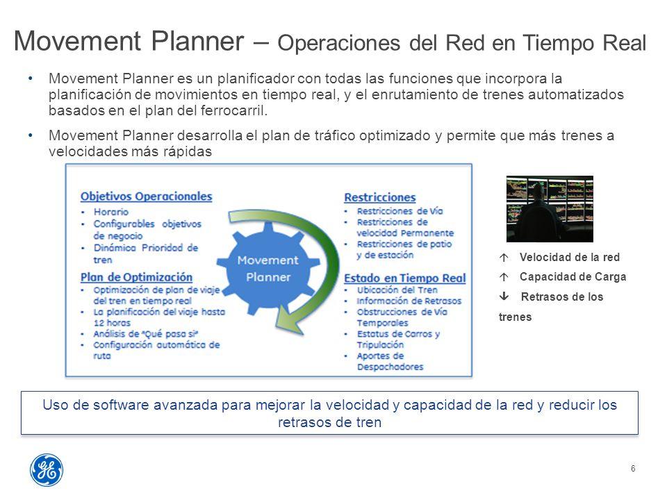 Movement Planner – Operaciones del Red en Tiempo Real 6 Movement Planner es un planificador con todas las funciones que incorpora la planificación de movimientos en tiempo real, y el enrutamiento de trenes automatizados basados  en el plan del ferrocarril.