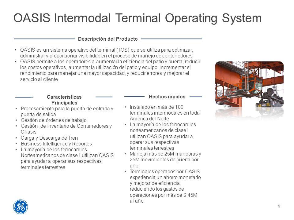 OASIS Intermodal Terminal Operating System 9 Descripción del Producto OASIS es un sistema operativo del terminal (TOS) que se utiliza para optimizar, administrar y proporcionar visibilidad en el proceso de manejo de contenedores OASIS permite a los operadores a aumentar la eficiencia del patio y puerta, reducir los costos operativos, aumentar la utilización del patio y equipo, incrementar el rendimiento para manejar una mayor capacidad, y reducir errores y mejorar el servicio al cliente Características Principales Procesamiento para la puerta de entrada y puerta de salida Gestión de órdenes de trabajo Gestión de Inventario de Contenedores y Chasis Carga y Descarga de Tren Business Intelligence y Reportes La mayoría de los ferrocarriles Norteamericanos de clase I utilizan OASIS para ayudar a operar sus respectivas terminales terrestres Hechos rápidos Instalado en más de 100 terminales intermodales en toda América del Norte La mayoría de los ferrocarriles norteamericanos de clase I utilizan OASIS para ayudar a operar sus respectivas terminales terrestres Maneja más de 25M manobras y 25M movimientos de puerta por año Terminales operados por OASIS experiencia un ahorro monetario y mejorar de eficiencia, reduciendo los gastos de operaciones por más de $ 45M al año