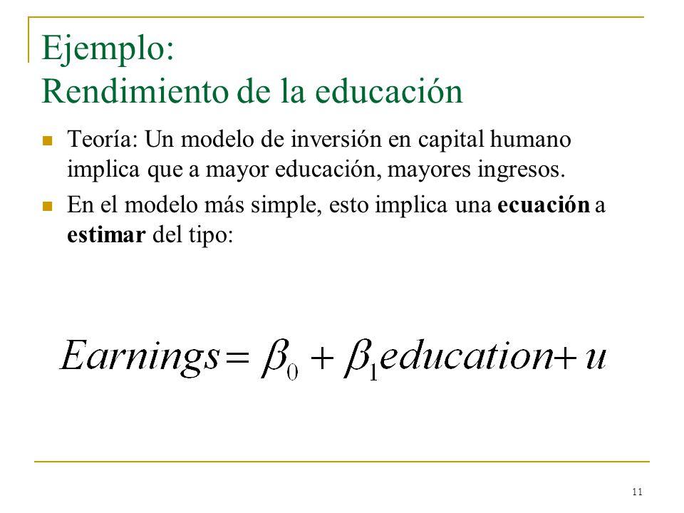11 Ejemplo: Rendimiento de la educación Teoría: Un modelo de inversión en capital humano implica que a mayor educación, mayores ingresos.