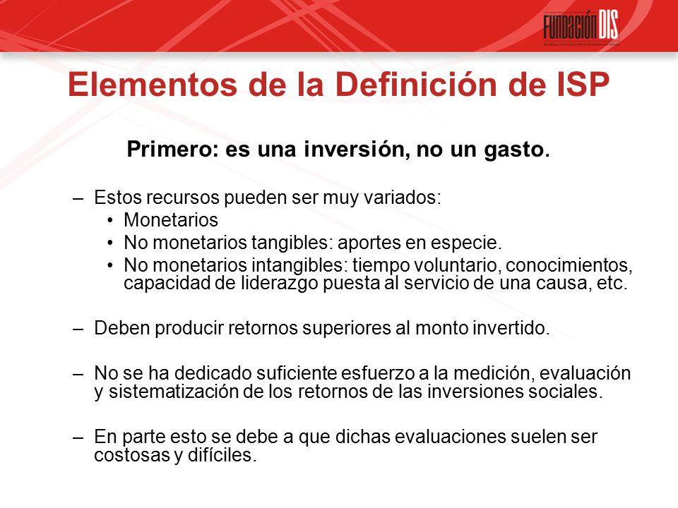 Elementos de la Definición de ISP Primero: es una inversión, no un gasto.