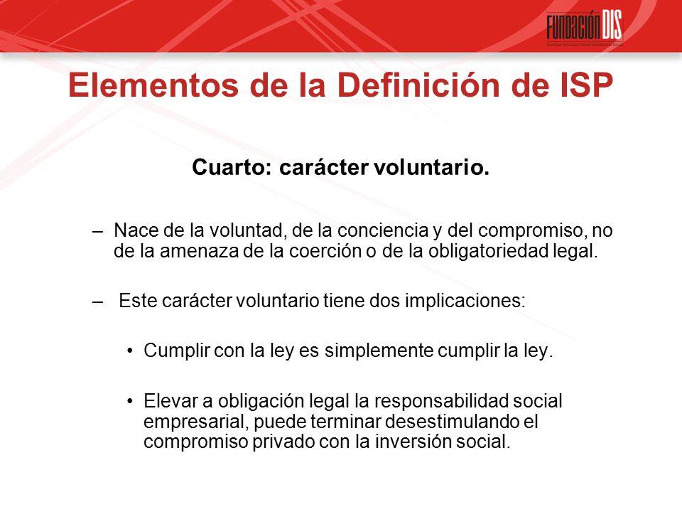 Elementos de la Definición de ISP Cuarto: carácter voluntario.