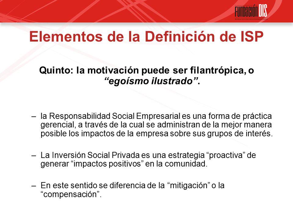 Elementos de la Definición de ISP Quinto: la motivación puede ser filantrópica, o egoísmo ilustrado .