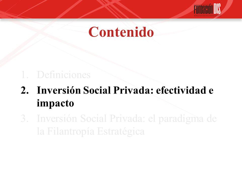 Contenido 1.Definiciones 2.Inversión Social Privada: efectividad e impacto 3.Inversión Social Privada: el paradigma de la Filantropía Estratégica