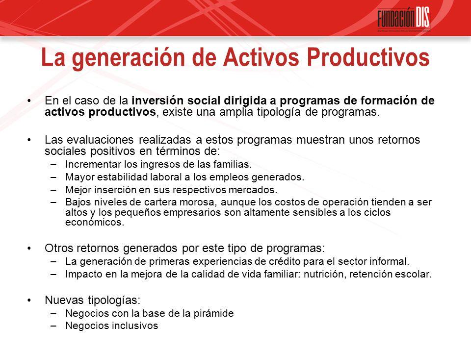 La generación de Activos Productivos En el caso de la inversión social dirigida a programas de formación de activos productivos, existe una amplia tipología de programas.