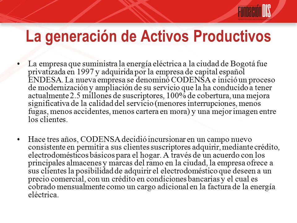 La generación de Activos Productivos La empresa que suministra la energía eléctrica a la ciudad de Bogotá fue privatizada en 1997 y adquirida por la empresa de capital español ENDESA.