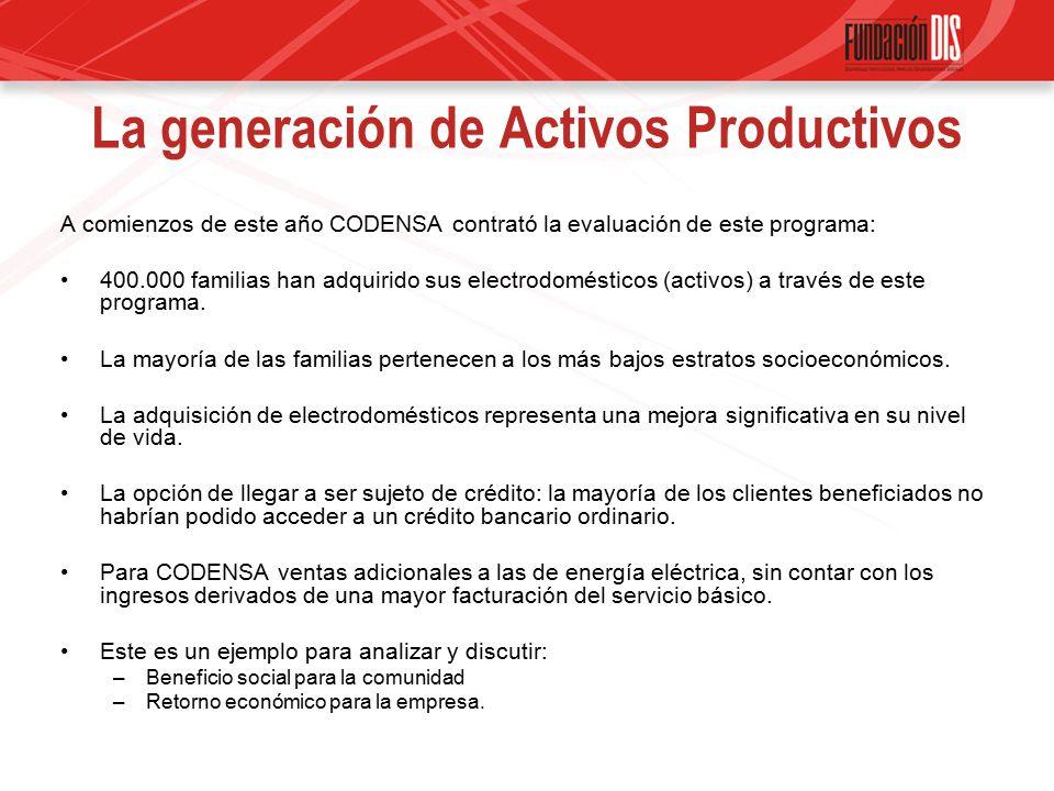 La generación de Activos Productivos A comienzos de este año CODENSA contrató la evaluación de este programa: 400.000 familias han adquirido sus electrodomésticos (activos) a través de este programa.