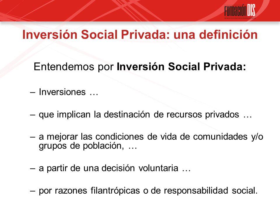 Inversión Social Privada: una definición Entendemos por Inversión Social Privada: –Inversiones … –que implican la destinación de recursos privados … –a mejorar las condiciones de vida de comunidades y/o grupos de población, … –a partir de una decisión voluntaria … –por razones filantrópicas o de responsabilidad social.
