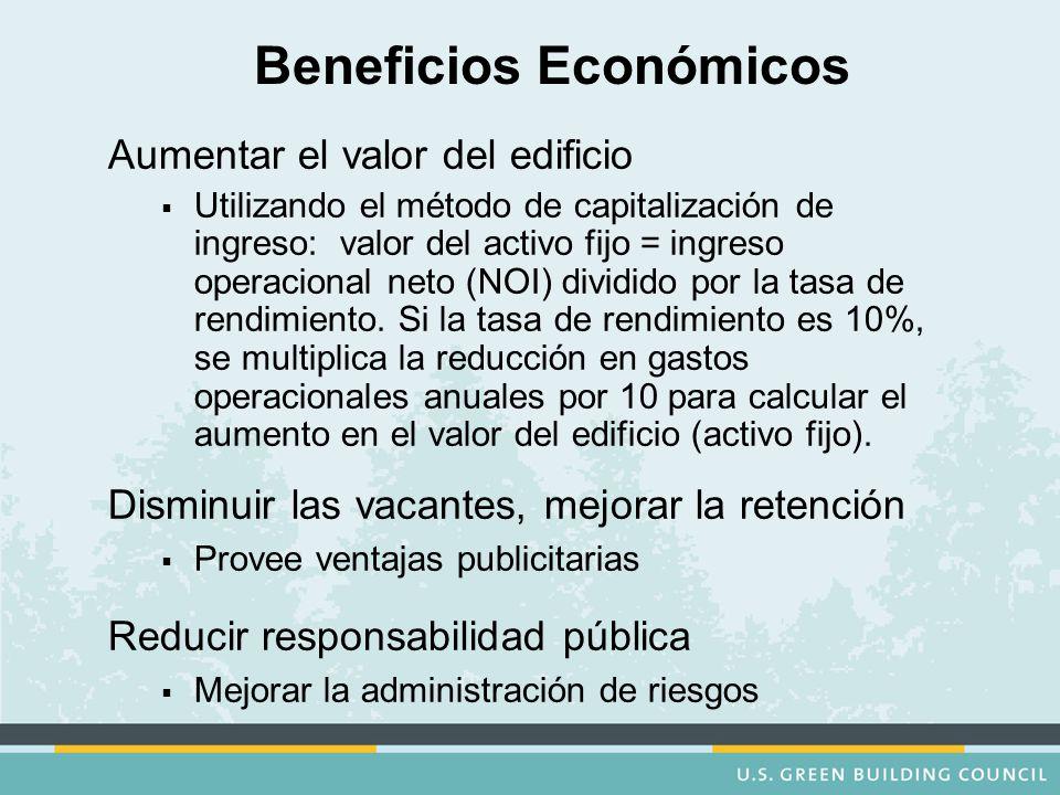 Beneficios Económicos Aumentar el valor del edificio   Utilizando el método de capitalización de ingreso: valor del activo fijo = ingreso operacional neto (NOI) dividido por la tasa de rendimiento.
