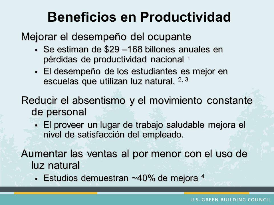 Beneficios en Productividad Mejorar el desempeño del ocupante  Se estiman de $29 –168 billones anuales en pérdidas de productividad nacional 1  El desempeño de los estudiantes es mejor en escuelas que utilizan luz natural.