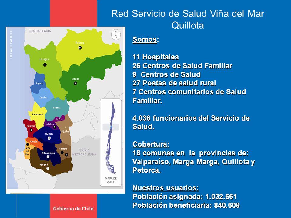 Red Servicio de Salud Viña del Mar Quillota Somos: 11 Hospitales 26 Centros de Salud Familiar 9 Centros de Salud 27 Postas de salud rural 7 Centros comunitarios de Salud Familiar.