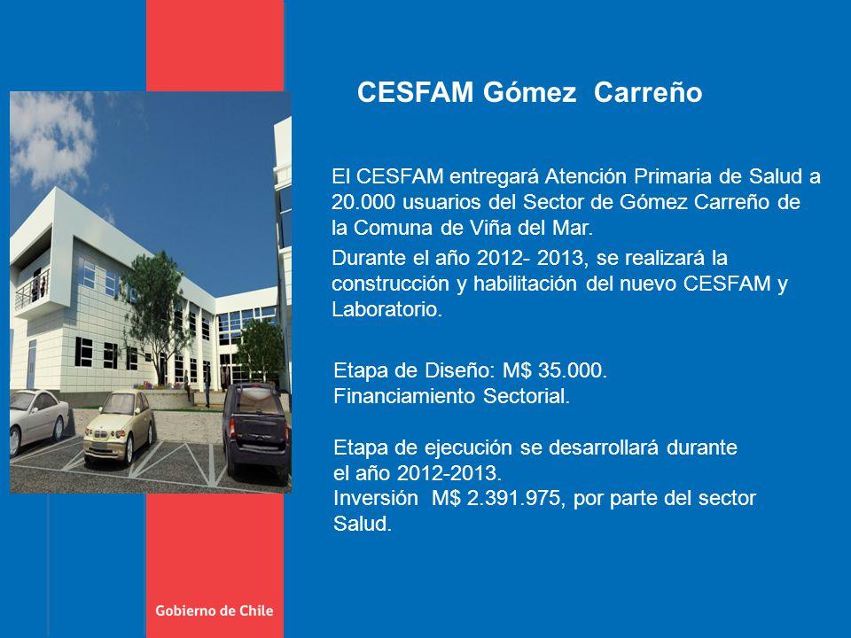 El CESFAM entregará Atención Primaria de Salud a 20.000 usuarios del Sector de Gómez Carreño de la Comuna de Viña del Mar.