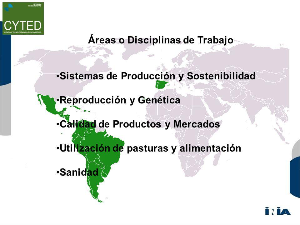 Áreas o Disciplinas de Trabajo Sistemas de Producción y Sostenibilidad Reproducción y Genética Calidad de Productos y Mercados Utilización de pasturas y alimentación Sanidad