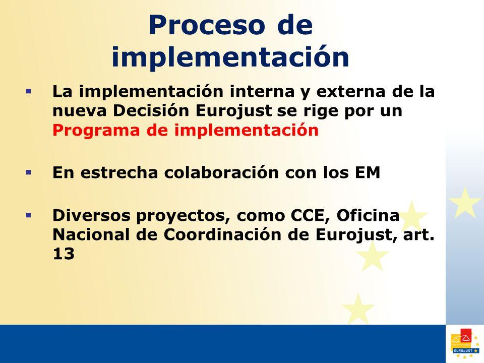 Proceso de implementación  La implementación interna y externa de la nueva Decisión Eurojust se rige por un Programa de implementación  En estrecha colaboración con los EM  Diversos proyectos, como CCE, Oficina Nacional de Coordinación de Eurojust, art.