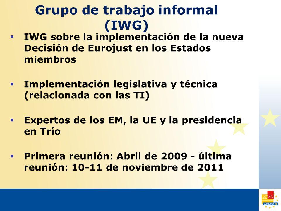 Grupo de trabajo informal (IWG)  IWG sobre la implementación de la nueva Decisión de Eurojust en los Estados miembros  Implementación legislativa y técnica (relacionada con las TI)  Expertos de los EM, la UE y la presidencia en Trío  Primera reunión: Abril de 2009 - última reunión: 10-11 de noviembre de 2011
