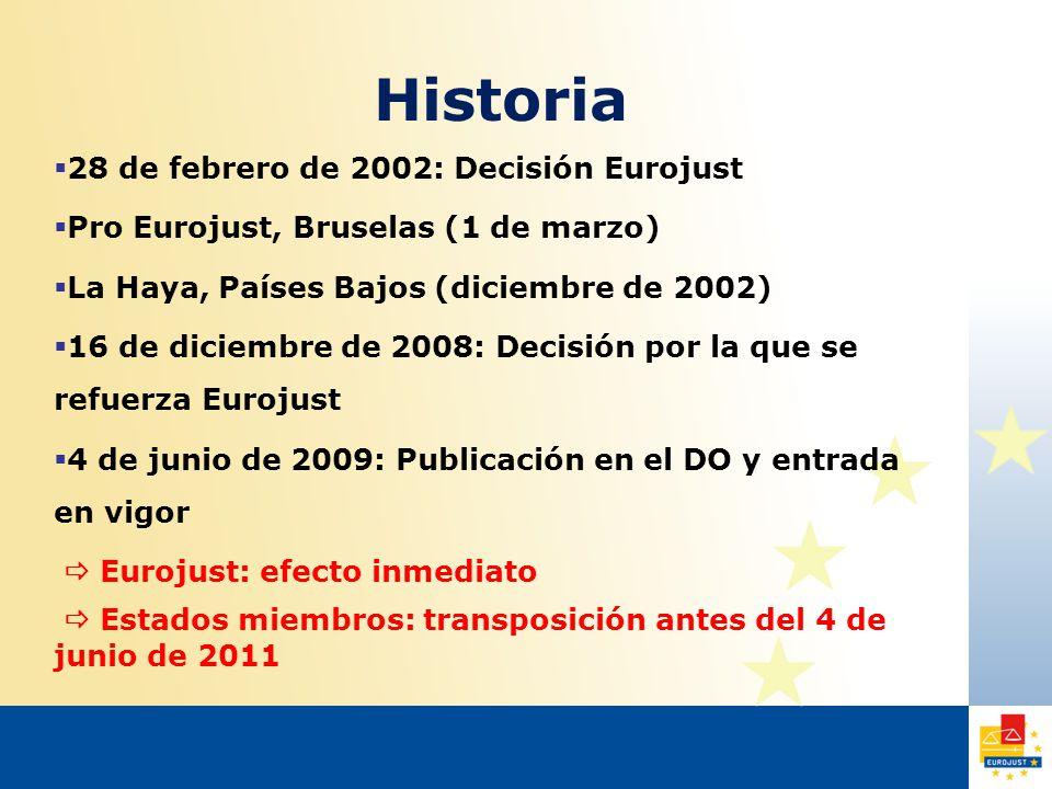 Historia  28 de febrero de 2002: Decisión Eurojust  Pro Eurojust, Bruselas (1 de marzo)  La Haya, Países Bajos (diciembre de 2002)  16 de diciembre de 2008: Decisión por la que se refuerza Eurojust  4 de junio de 2009: Publicación en el DO y entrada en vigor  Eurojust: efecto inmediato  Estados miembros: transposición antes del 4 de junio de 2011