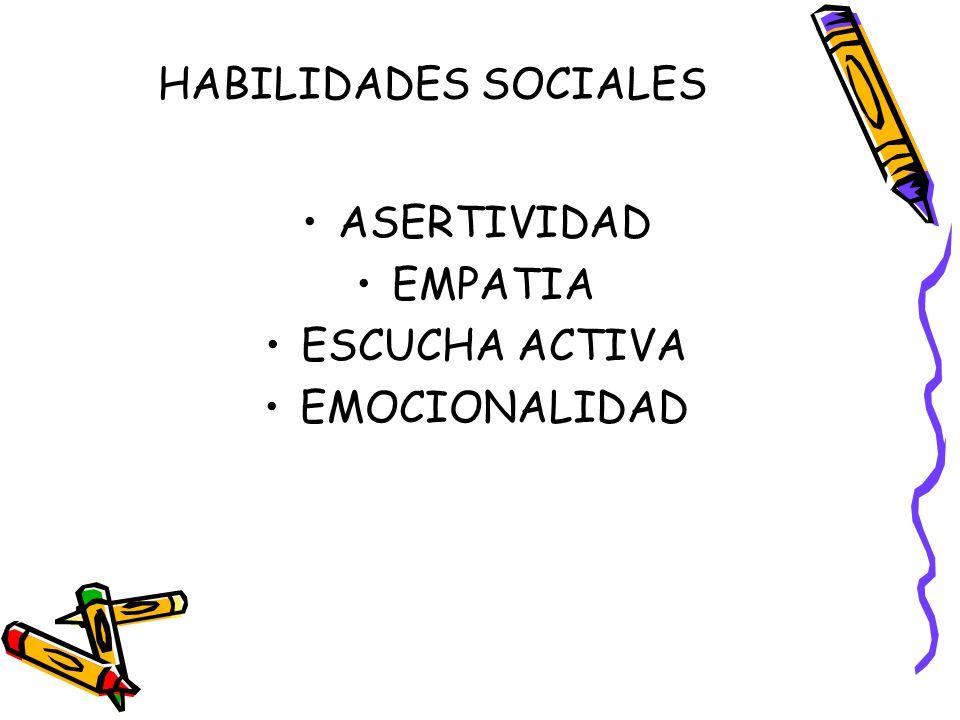 HABILIDADES SOCIALES ASERTIVIDAD EMPATIA ESCUCHA ACTIVA EMOCIONALIDAD
