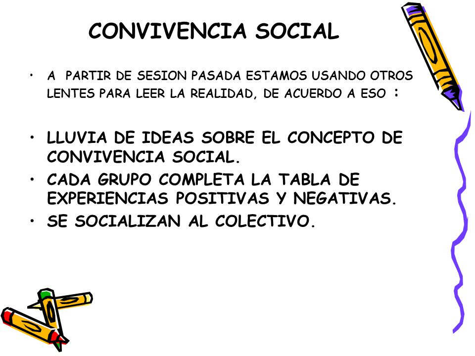 CONVIVENCIA SOCIAL A PARTIR DE SESION PASADA ESTAMOS USANDO OTROS LENTES PARA LEER LA REALIDAD, DE ACUERDO A ESO : LLUVIA DE IDEAS SOBRE EL CONCEPTO DE CONVIVENCIA SOCIAL.