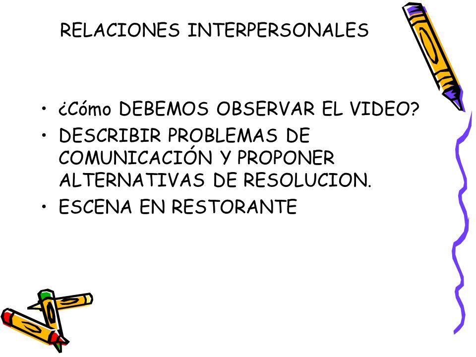 RELACIONES INTERPERSONALES ¿Cómo DEBEMOS OBSERVAR EL VIDEO.