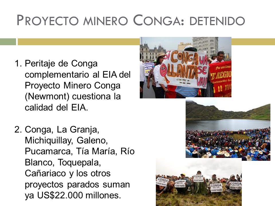 P ROYECTO MINERO C ONGA : DETENIDO 1.Peritaje de Conga complementario al EIA del Proyecto Minero Conga (Newmont) cuestiona la calidad del EIA.