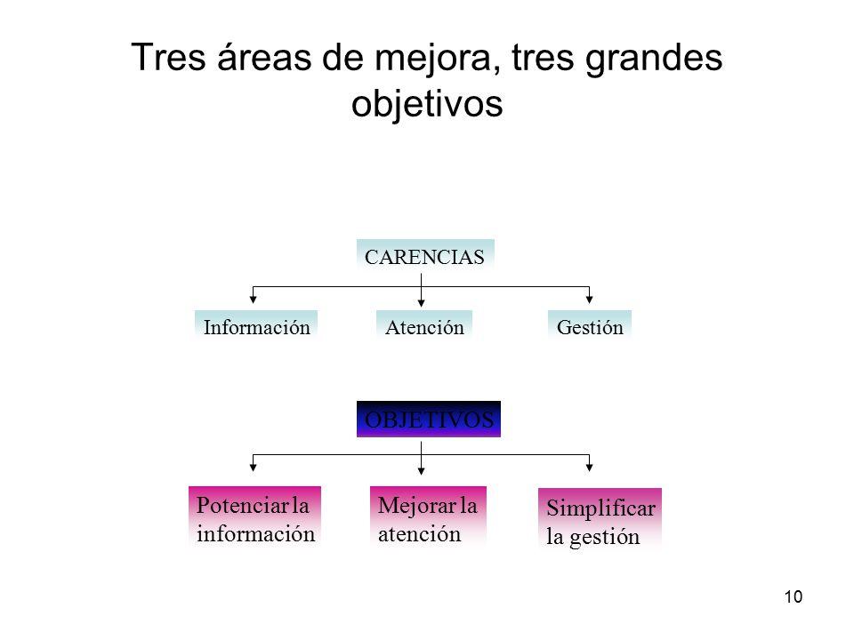 10 Tres áreas de mejora, tres grandes objetivos InformaciónAtenciónGestión CARENCIAS Potenciar la información Mejorar la atención Simplificar la gestión OBJETIVOS