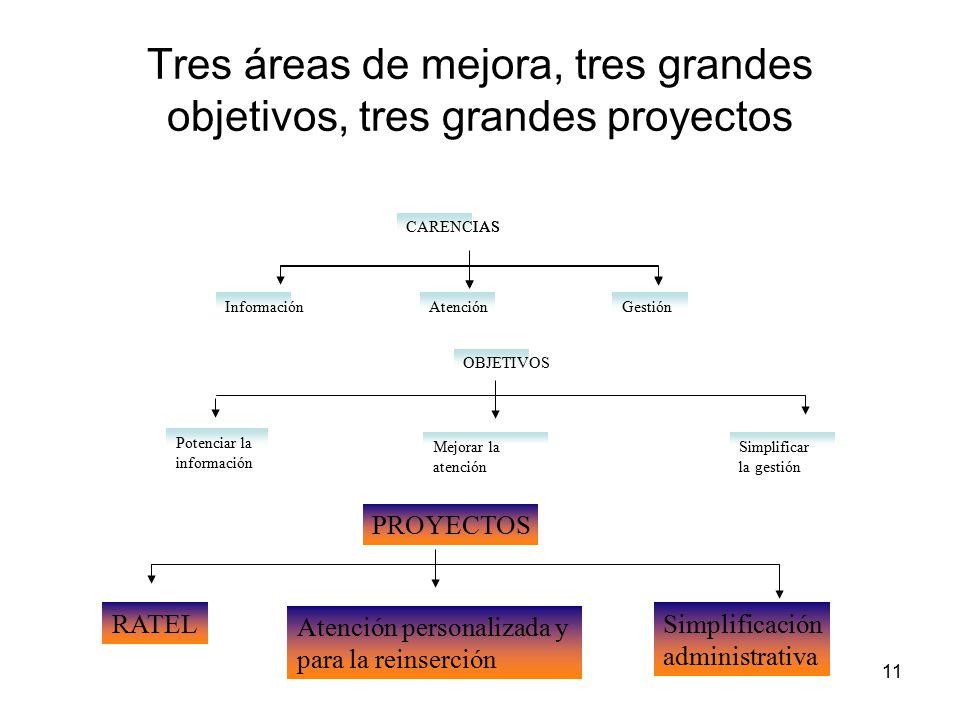 11 Tres áreas de mejora, tres grandes objetivos, tres grandes proyectos AtenciónGestión CARENCIAS Potenciar la información Mejorar la atención Simplificar la gestión OBJETIVOS RATEL Atención personalizada y para la reinserción Simplificación administrativa PROYECTOS Información AtenciónGestión CARENCIAS