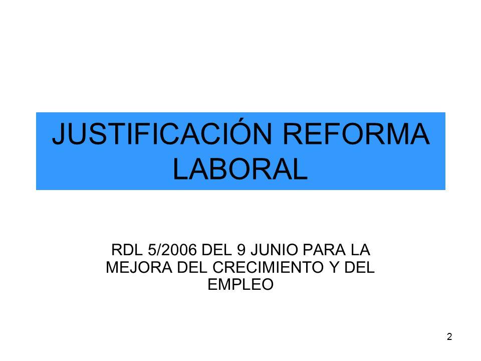 2 JUSTIFICACIÓN REFORMA LABORAL RDL 5/2006 DEL 9 JUNIO PARA LA MEJORA DEL CRECIMIENTO Y DEL EMPLEO