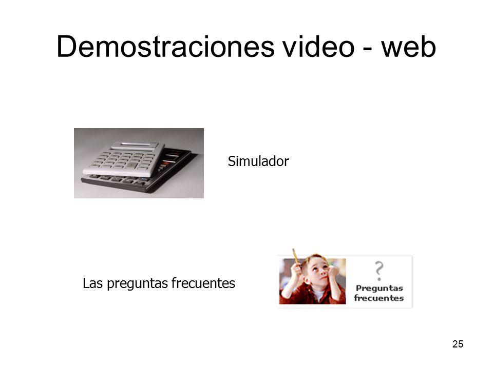 25 Demostraciones video - web Simulador Las preguntas frecuentes