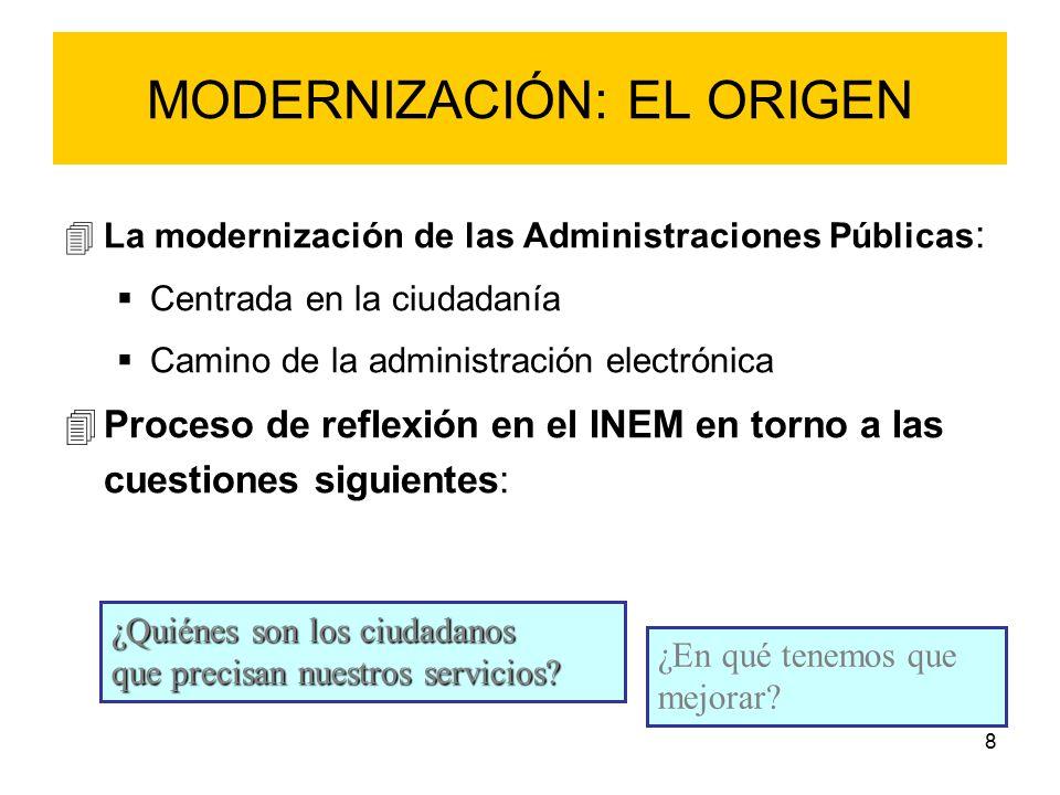 8 MODERNIZACIÓN: EL ORIGEN 4La modernización de las Administraciones Públicas :  Centrada en la ciudadanía  Camino de la administración electrónica 4Proceso de reflexión en el INEM en torno a las cuestiones siguientes: ¿Quiénes son los ciudadanos que precisan nuestros servicios.
