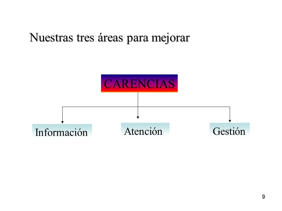 9 CARENCIAS Información AtenciónGestión Nuestras tres áreas para mejorar