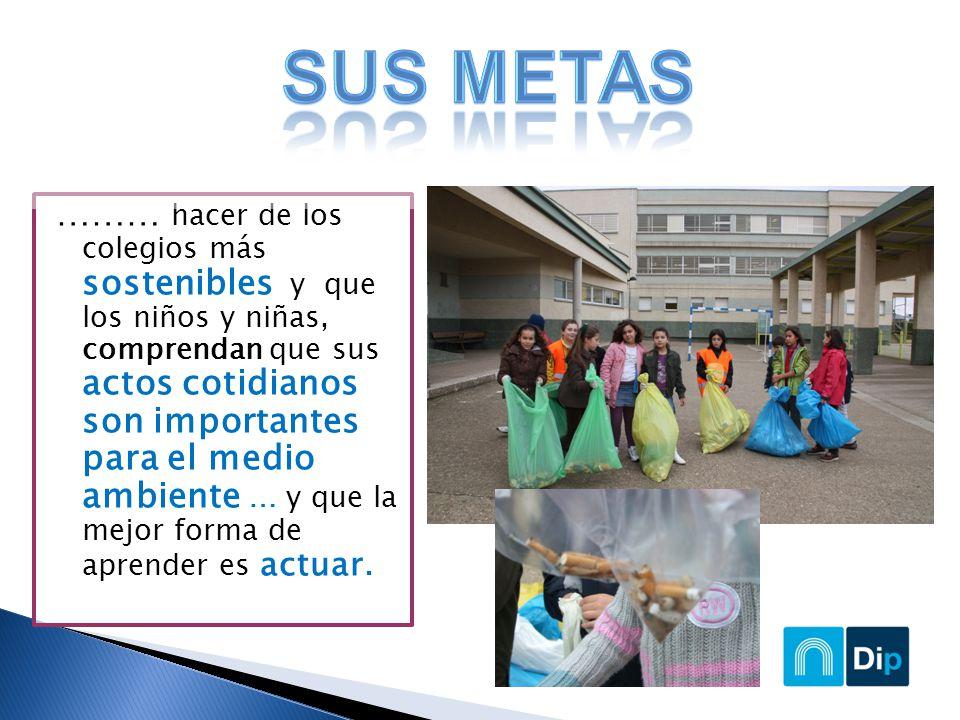……… hacer de los colegios más sostenibles y que los niños y niñas, comprendan que sus actos cotidianos son importantes para el medio ambiente … y que la mejor forma de aprender es actuar.