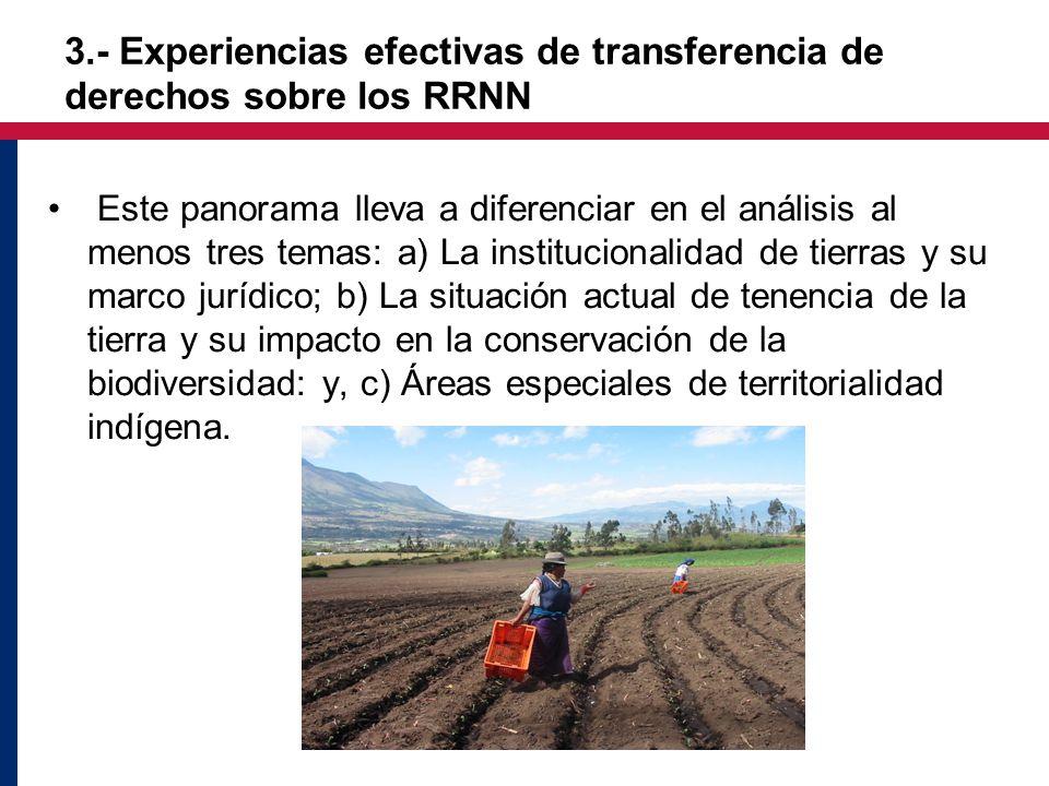 Este panorama lleva a diferenciar en el análisis al menos tres temas: a) La institucionalidad de tierras y su marco jurídico; b) La situación actual de tenencia de la tierra y su impacto en la conservación de la biodiversidad: y, c) Áreas especiales de territorialidad indígena.