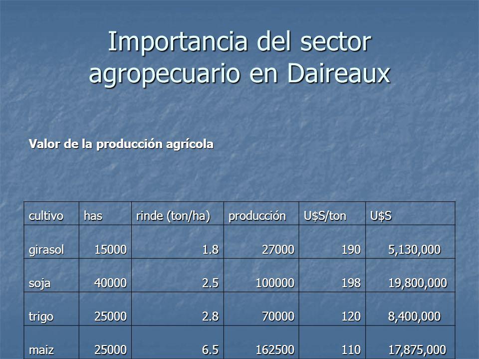 Importancia del sector agropecuario en Daireaux Valor de la producción agrícola cultivohas rinde (ton/ha) producciónU$S/tonU$S girasol150001.827000190 5,130,000 5,130,000 soja400002.5100000198 19,800,000 19,800,000 trigo250002.870000120 8,400,000 8,400,000 maiz250006.5162500110 17,875,000 17,875,000 51,205,000 51,205,000