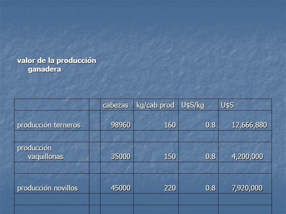 valor de la producción ganadera cabezas kg/cab prod U$S/kgU$S producción terneros 989601600.8 12,666,880 12,666,880 producción vaquillonas 350001500.8 4,200,000 4,200,000 producción novillos 450002200.8 7,920,000 7,920,000 24,786,880 24,786,880