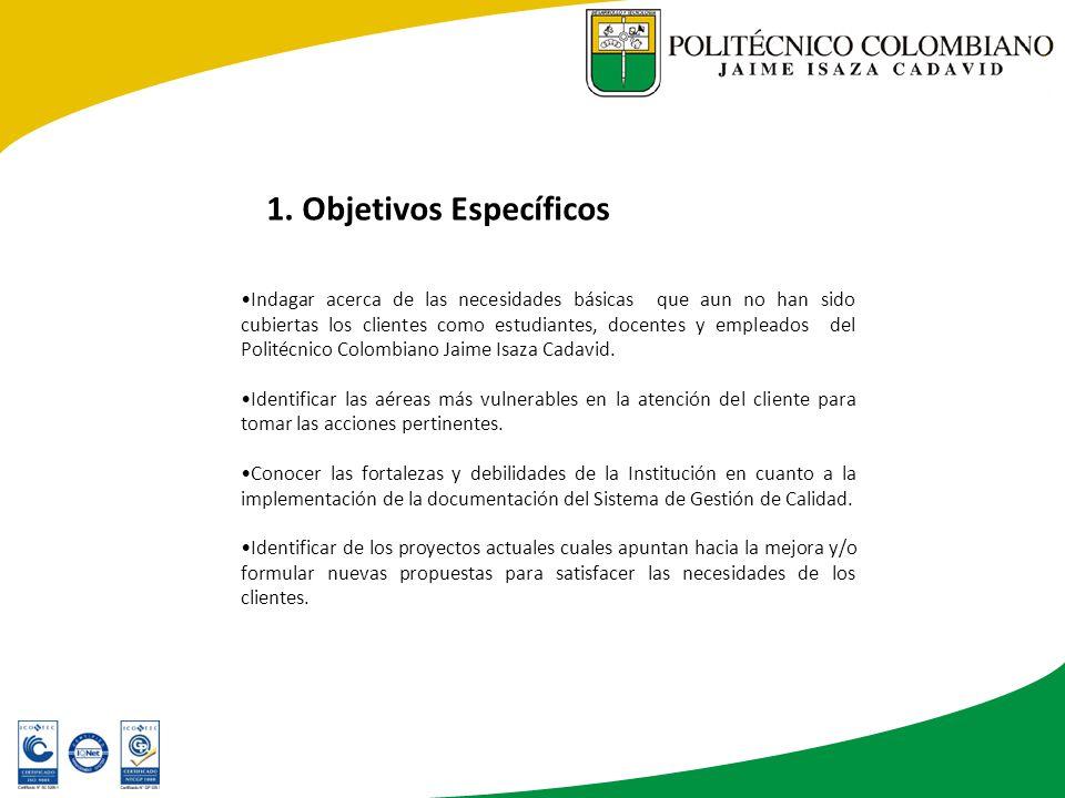 Indagar acerca de las necesidades básicas que aun no han sido cubiertas los clientes como estudiantes, docentes y empleados del Politécnico Colombiano Jaime Isaza Cadavid.